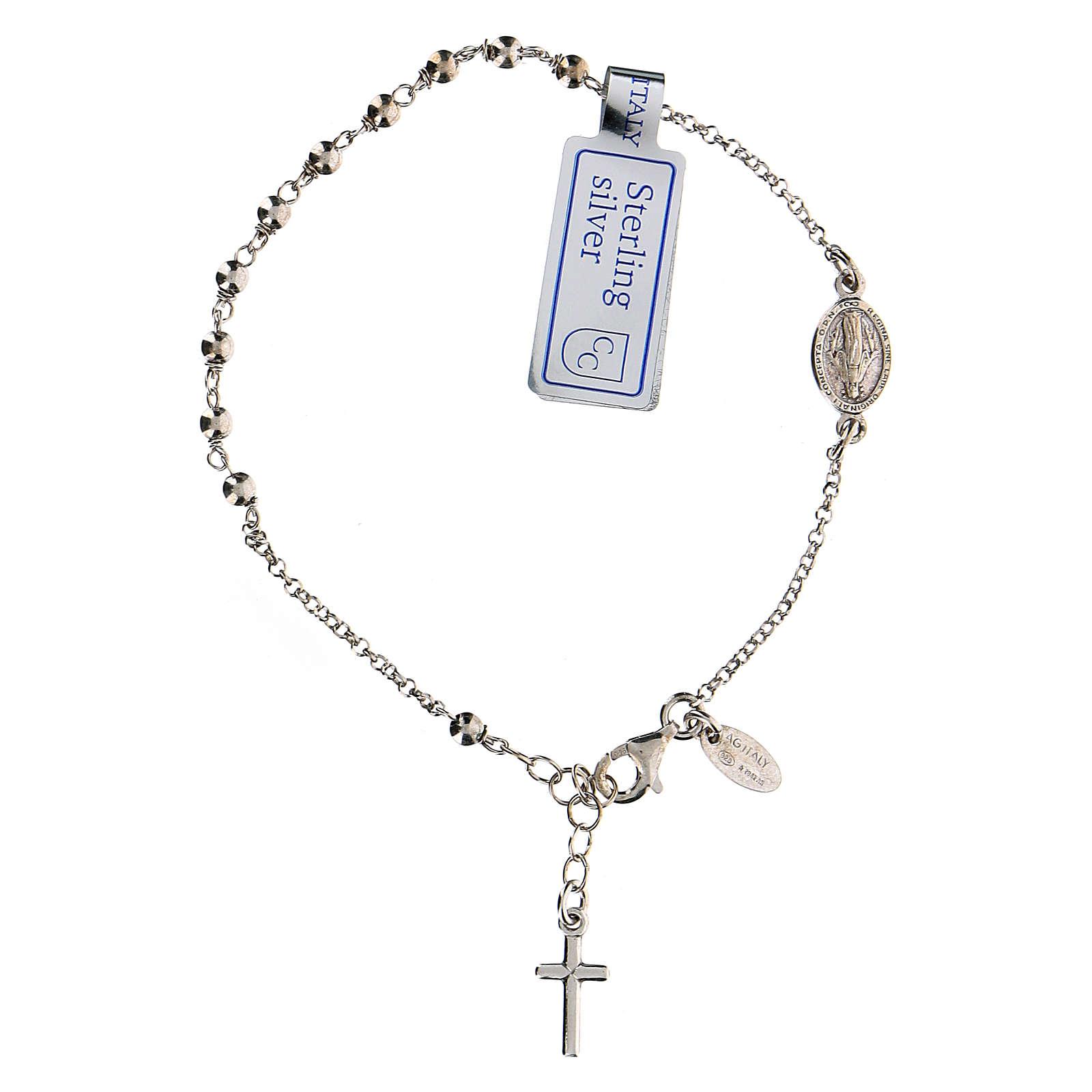 Pulsera decena plata 925 Cruz y Virgen Milagrosa acabado Rodio 4