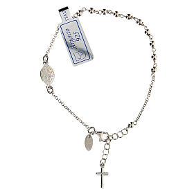 Pulsera decena plata 925 Cruz y Virgen Milagrosa acabado Rodio s1