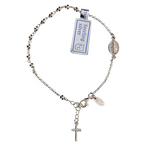 Pulsera decena plata 925 Cruz y Virgen Milagrosa acabado Rodio 2