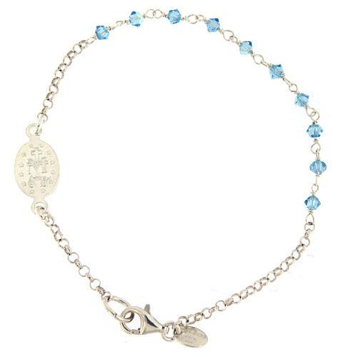 Bracciale argento 925 medaglia Miracolosa Swarovski azzurri 2