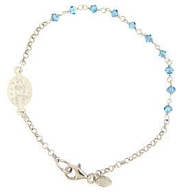 Pulseira prata 925 medalha Milagrosa Swarovski azuis