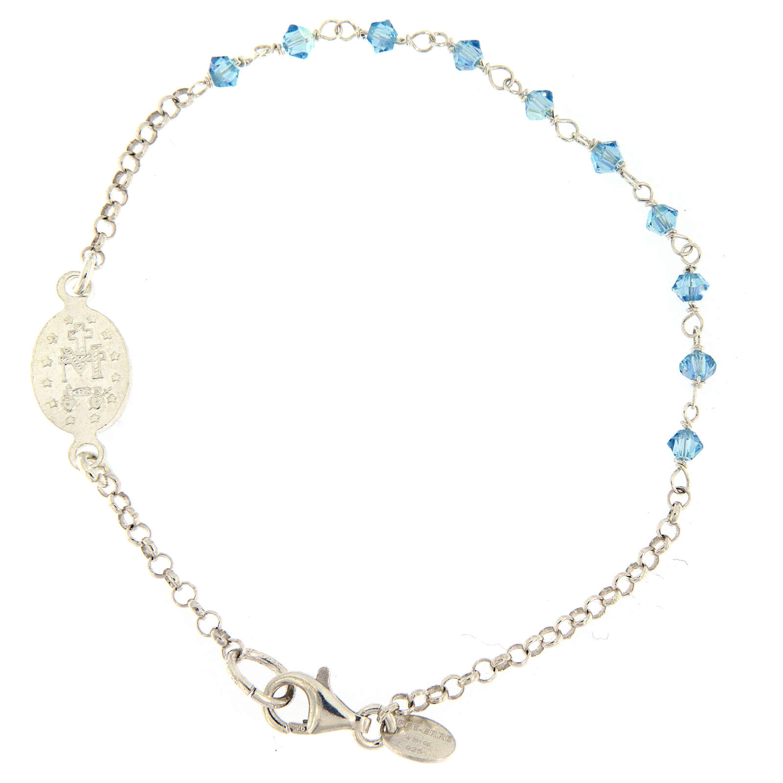Sterling silver bracelet with Miraculous Mary medal Swarovski beads 4