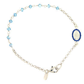Sterling silver bracelet with Miraculous Mary medal Swarovski beads s1
