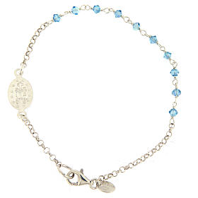 Sterling silver bracelet with Miraculous Mary medal Swarovski beads s2
