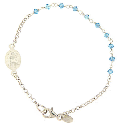 Sterling silver bracelet with Miraculous Mary medal Swarovski beads 2