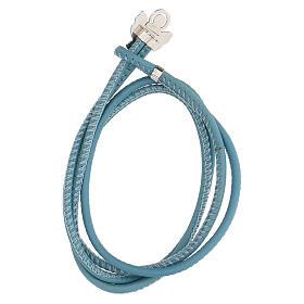 Bracciale argento 925 Angelo di Dio azzurro ecopelle s2