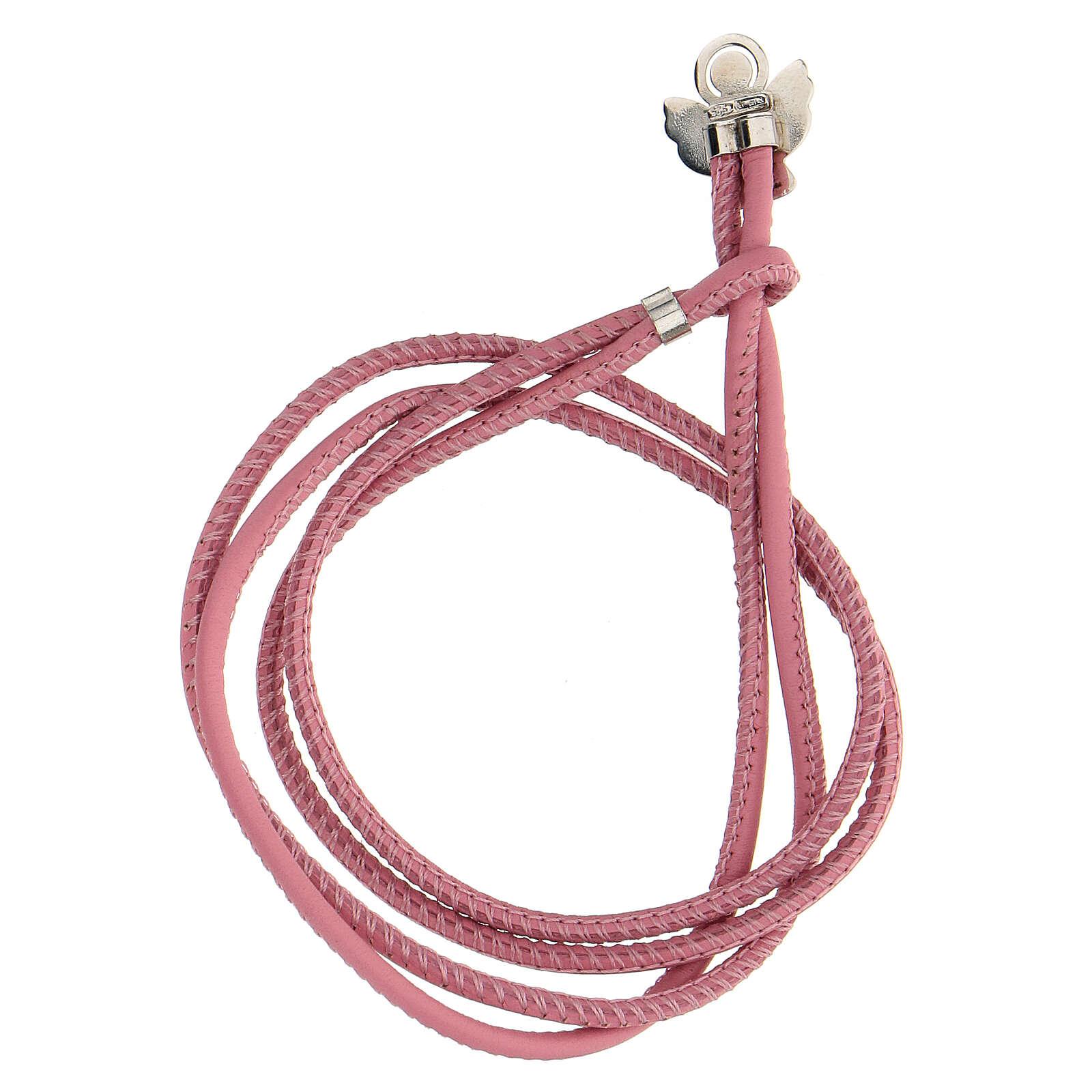 Bracciale Angelo di Dio argento 925 ecopelle rosa 4