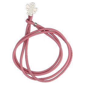 Bracciale Angelo di Dio argento 925 ecopelle rosa s1