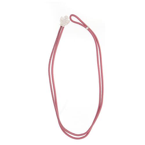 Bracciale Angelo di Dio argento 925 ecopelle rosa 3