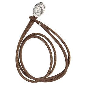 Bracelet cuir synthétique argent 925 Notre-Dame de Medjugorje brun s1