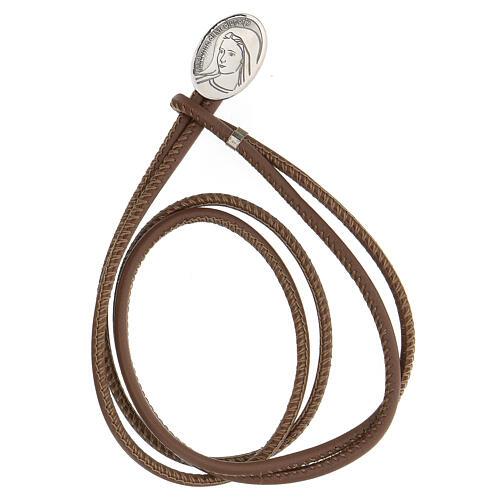 Bracelet cuir synthétique argent 925 Notre-Dame de Medjugorje brun 1