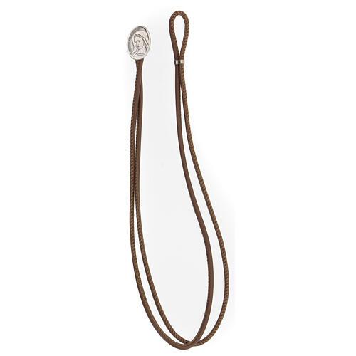 Bracelet cuir synthétique argent 925 Notre-Dame de Medjugorje brun 3