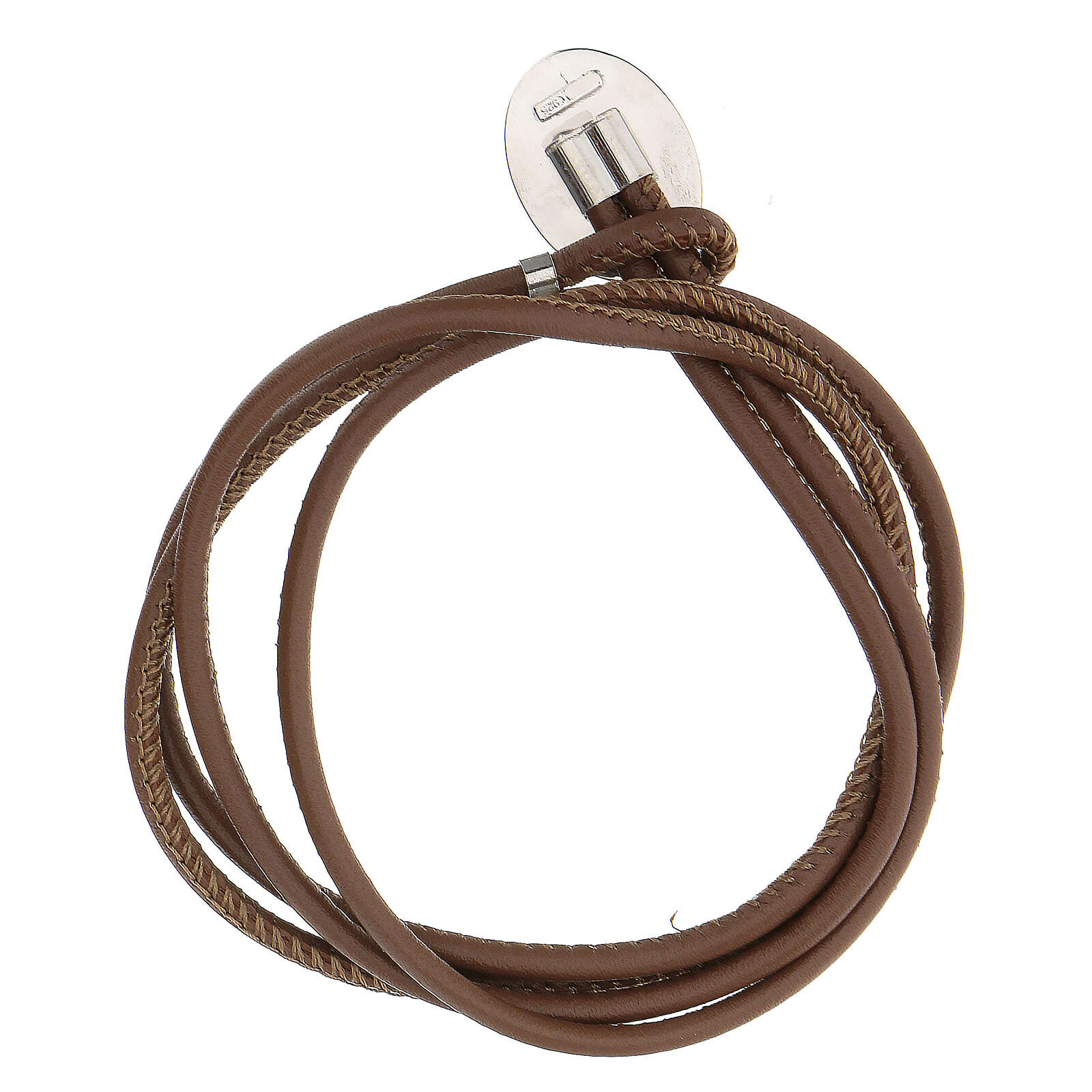 Brown faux leather bracelet with Our Lady of Medjugorje in 925 silver 4