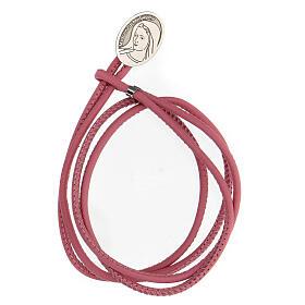 Bracciale Madonna Medjugorje argento 925 ecopelle rosa s1