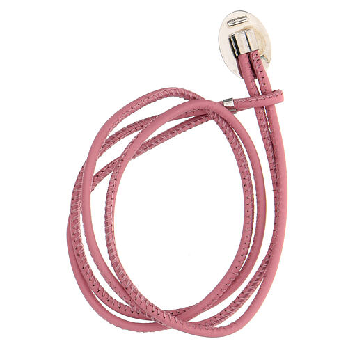 Pink faux leather bracelet with Our Lady of Medjugorje in 925 silver 2