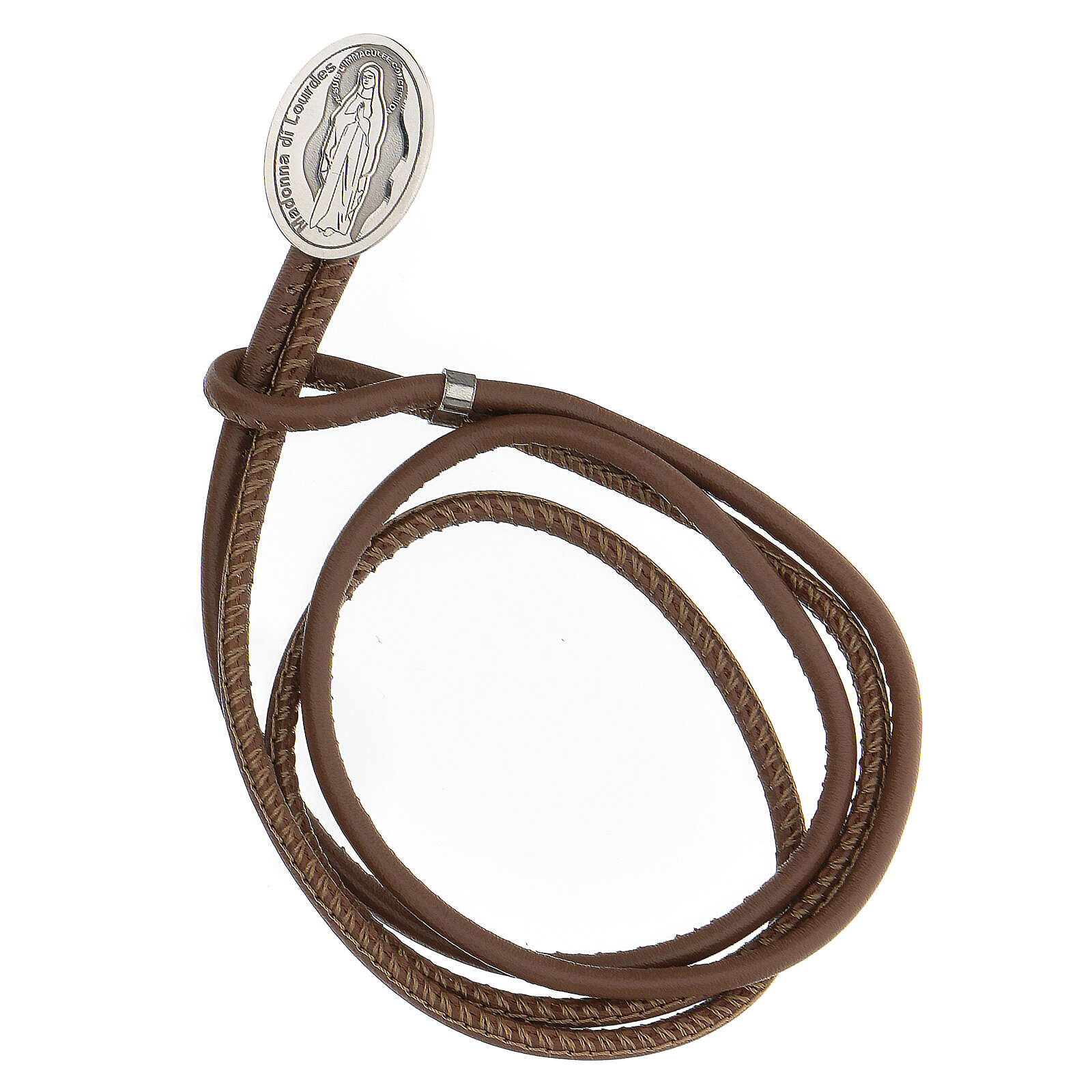 Brown faux leather bracelet with Our Lady of Lourdes in 925 silver 4