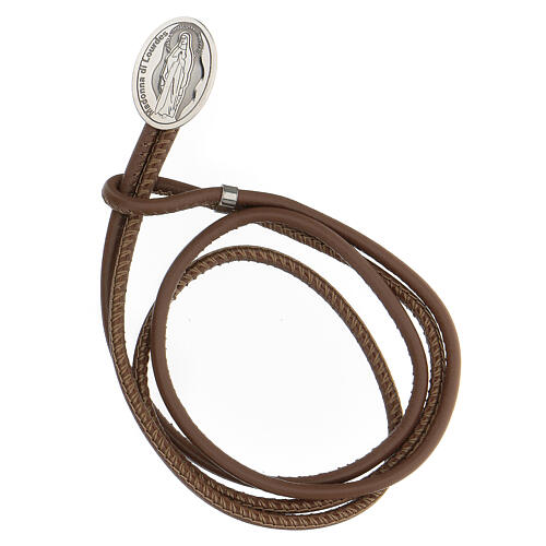 Brown faux leather bracelet with Our Lady of Lourdes in 925 silver 1