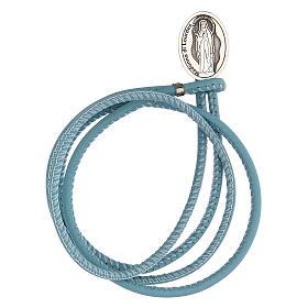 Pulsera azul Virgen Lourdes plata 925 cuero sintético s1