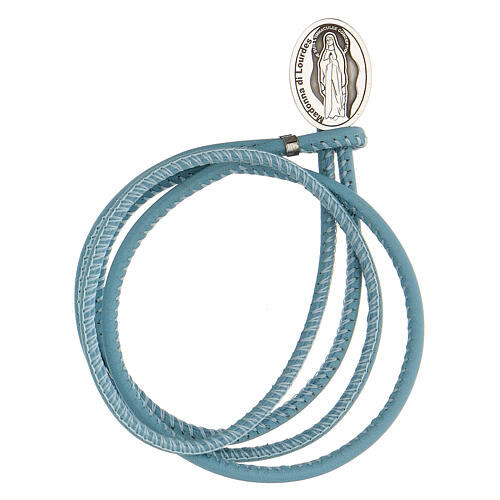 Blue faux leather bracelet with Our Lady of Lourdes in 925 silver 1