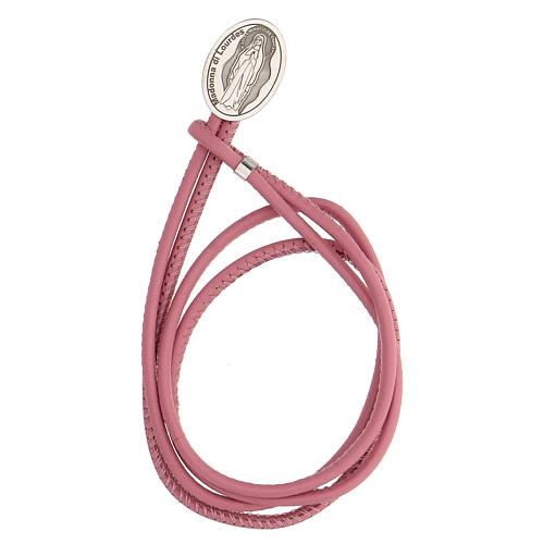 Pink faux leather bracelet with Our Lady of Lourdes in 925 silver 1