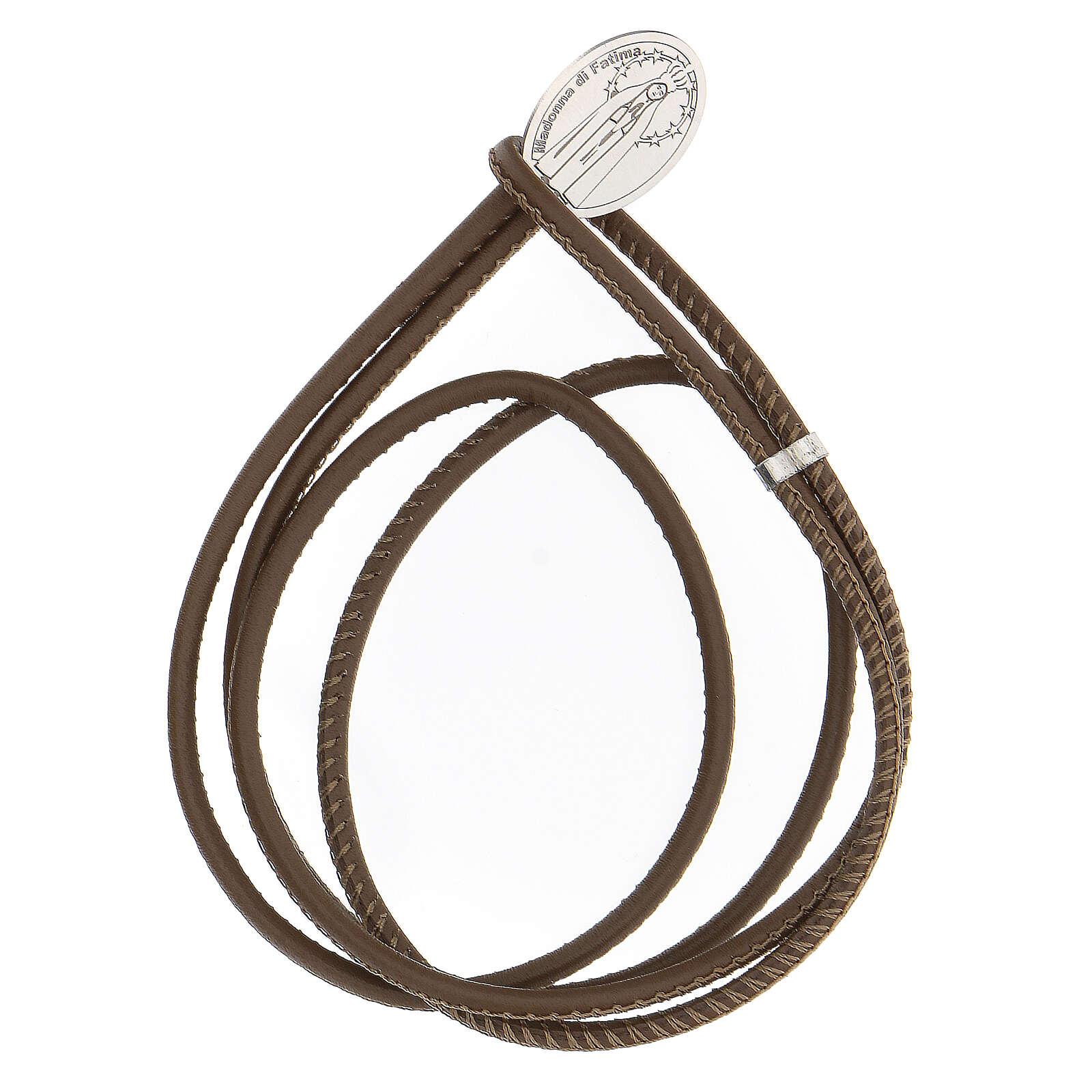 Bracelet brun foncé Notre-Dame de Lourdes argent 925 cuir synthétique 4