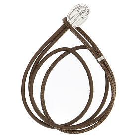 Bracelet brun foncé Notre-Dame de Lourdes argent 925 cuir synthétique s1