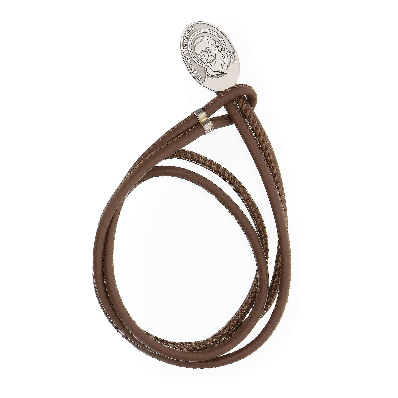 Bracelet argent 925 Padre Pio cuir synthétique brun 4