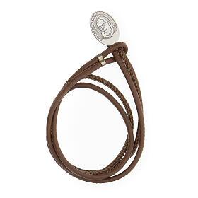 Bracelet argent 925 Padre Pio cuir synthétique brun s1