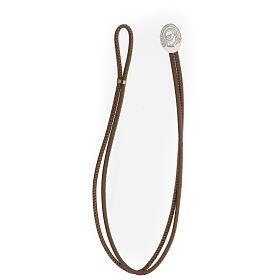 Bracelet argent 925 Padre Pio cuir synthétique brun s3