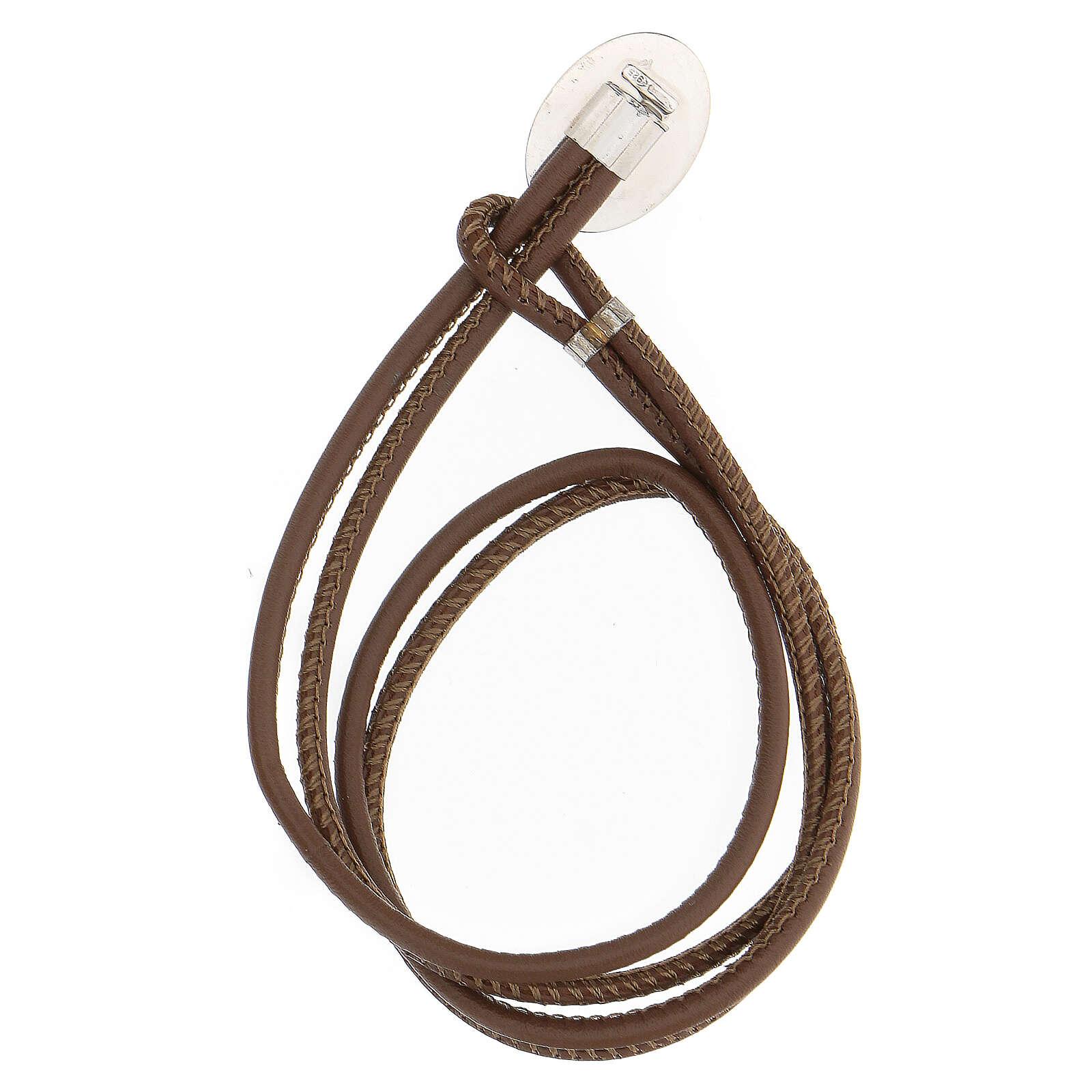 Father Pio bracelet, 925 silver brown faux leather 4