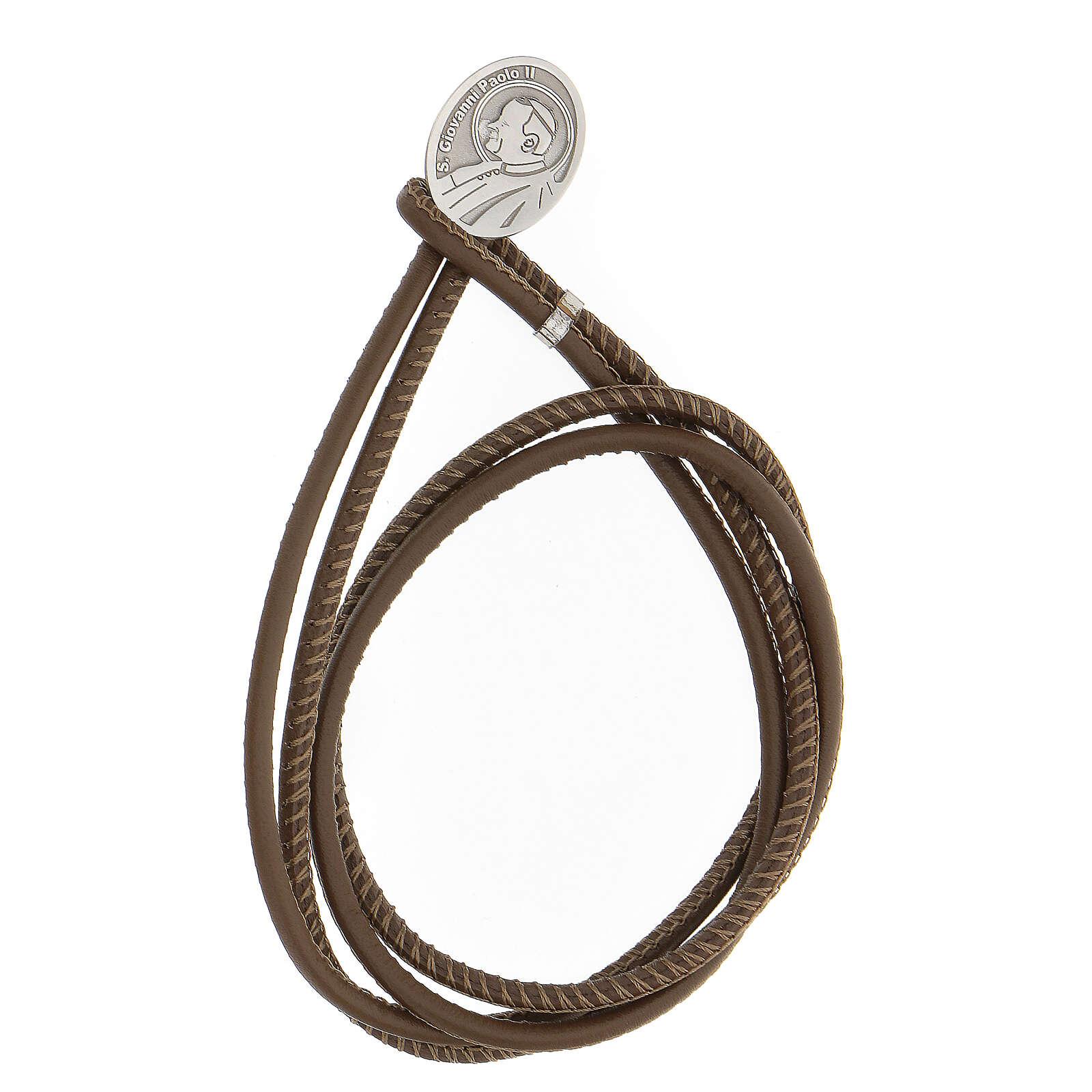 Bracelet Jean-Paul II argent 925 cuir synthétique brun 4