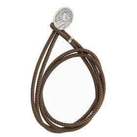 Bracelet Jean-Paul II argent 925 cuir synthétique brun s1