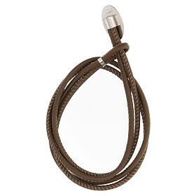 Bracelet Jean-Paul II argent 925 cuir synthétique brun s2