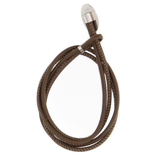 Bracelet Jean-Paul II argent 925 cuir synthétique brun 2