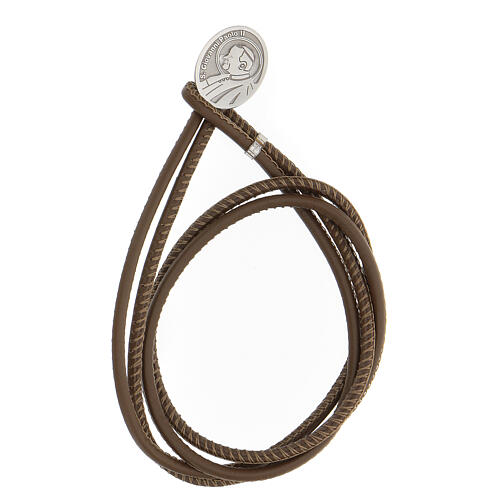 Pope John II bracelet in 925 silver faux brown leather 1