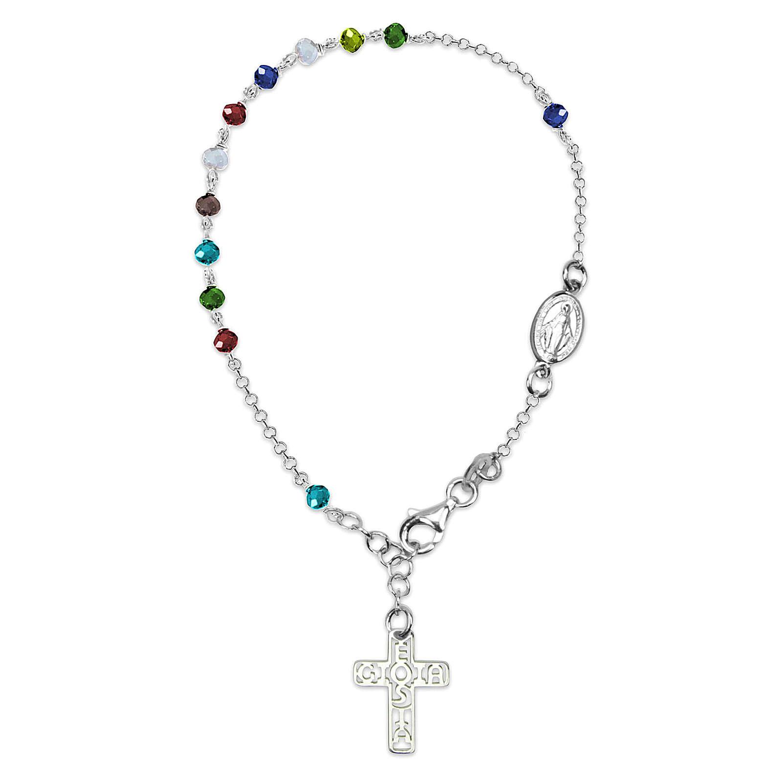 Bracciale rosario E Gioia Sia grani colorati argento 925 4