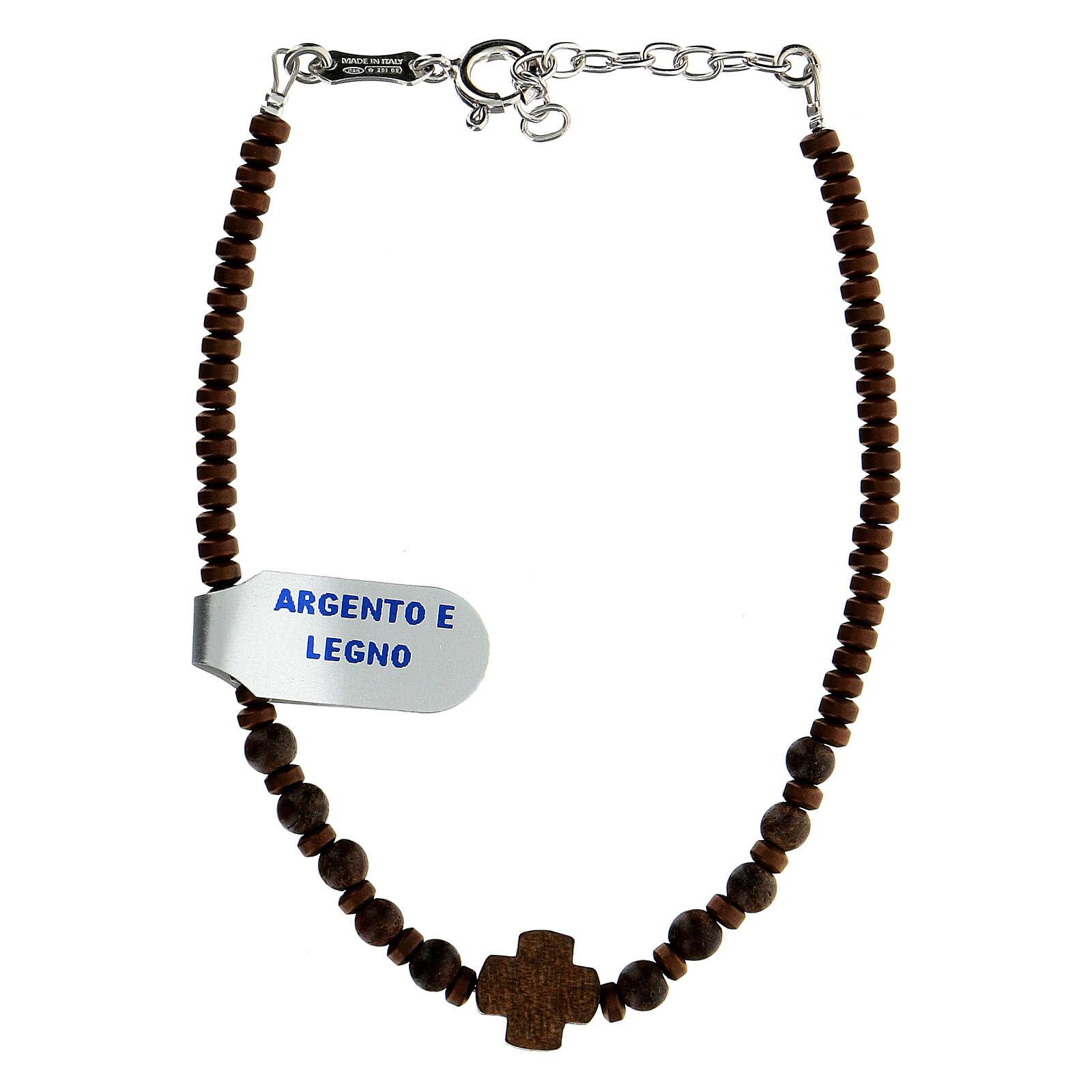 Bracelet bois croix Chi-Rho perles hématite argent 925 4