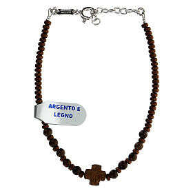 Bracelet bois croix Chi-Rho perles hématite argent 925 s2