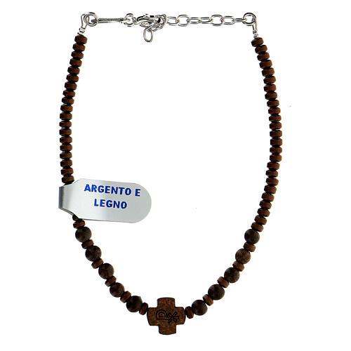 Bracelet bois croix Chi-Rho perles hématite argent 925 1