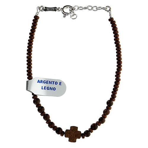 Bracelet bois croix Chi-Rho perles hématite argent 925 2
