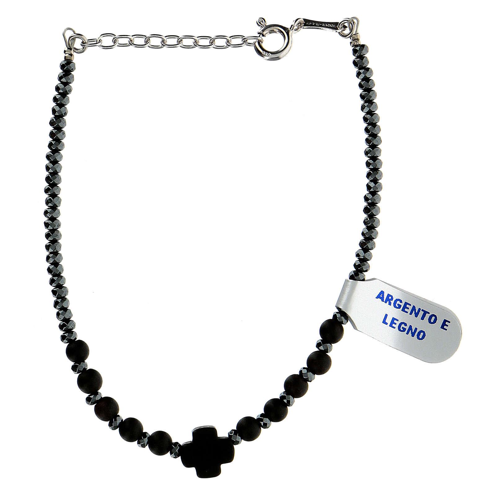 Wood bracelet black hematite 925 silver XP cross 4