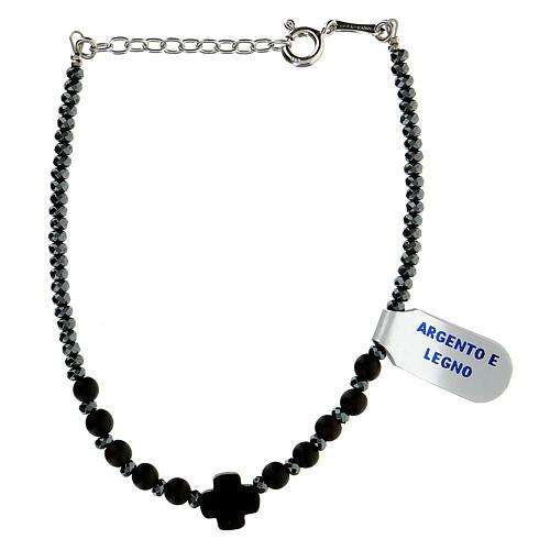 Wood bracelet black hematite 925 silver XP cross 2