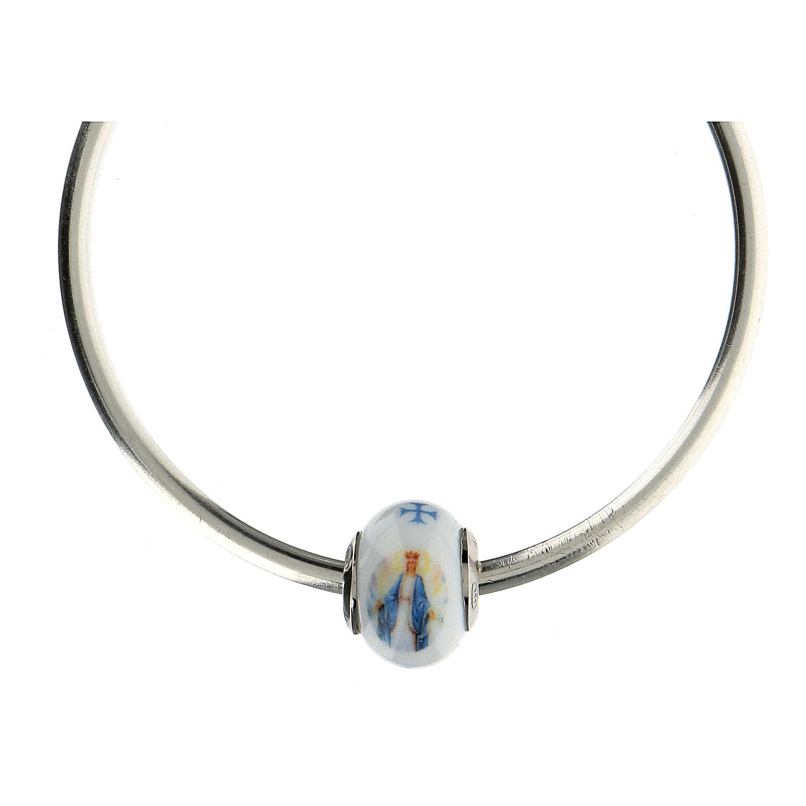 Ciondolo perla passante per bracciale Madonna Miracolosa vetro Murano argento 925 4