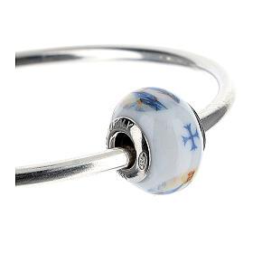 Ciondolo perla passante per bracciale Madonna Miracolosa vetro Murano argento 925 s7