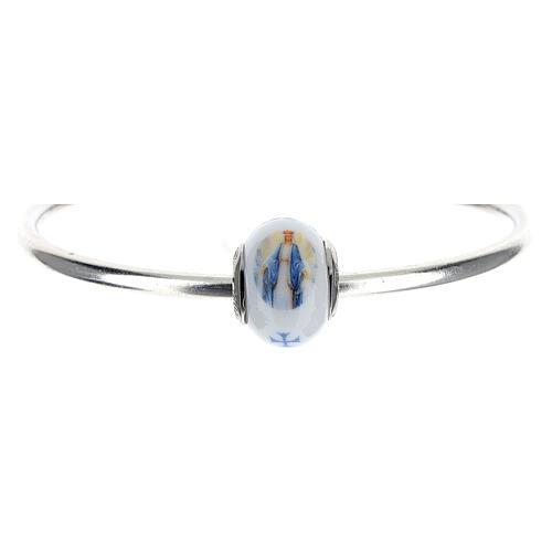 Ciondolo perla passante per bracciale Madonna Miracolosa vetro Murano argento 925 5