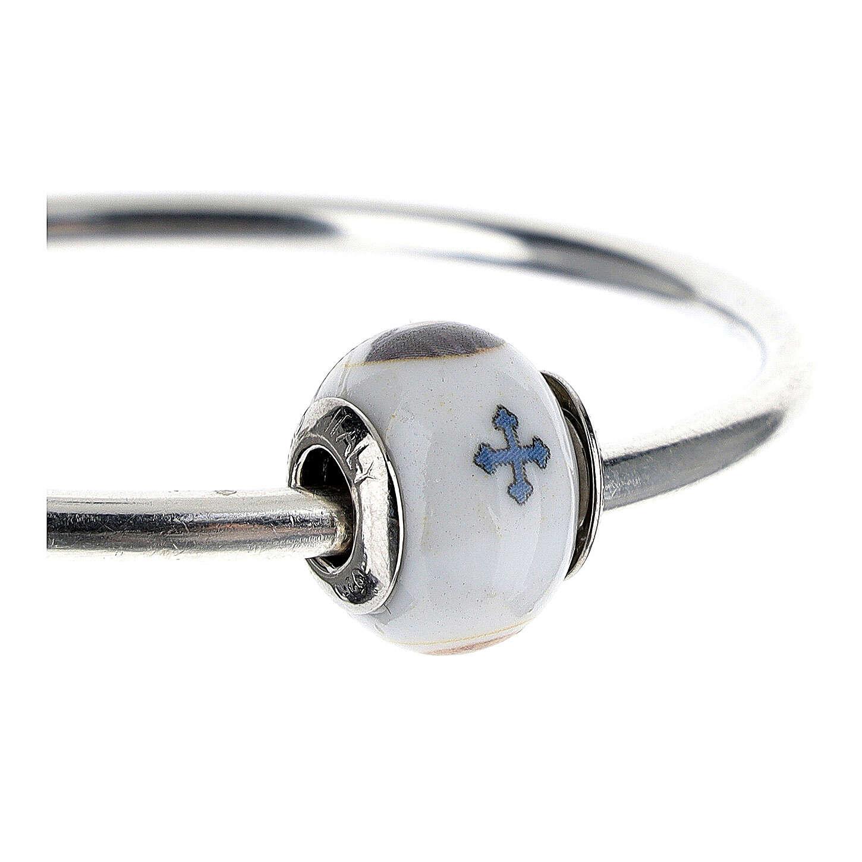 Charm perle passante bracelet Saint Benoît argent 925 verre Murano 4
