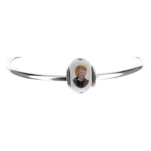 Charm perle passante bracelet Saint Benoît argent 925 verre Murano 1