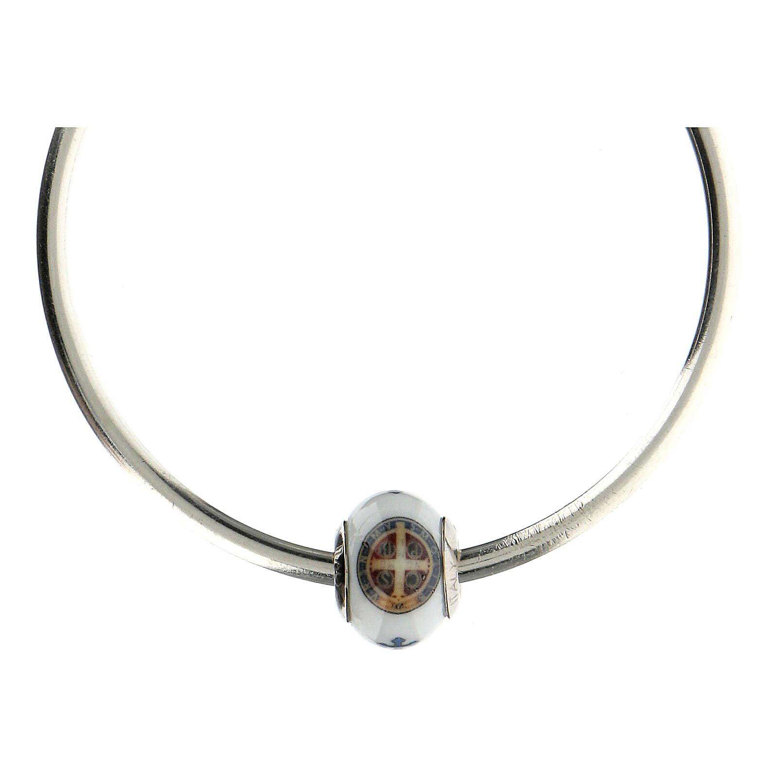 Charm bracelet verre Murano argent 925 médaille Saint Benoît 4