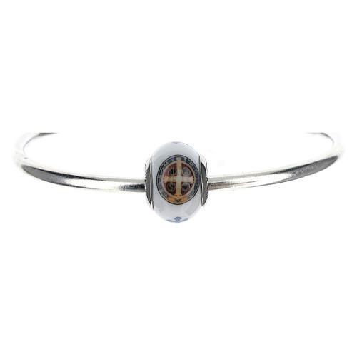Charm bracelet verre Murano argent 925 médaille Saint Benoît 1