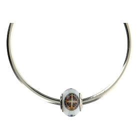 Passante charm bracciale vetro Murano argento 925 Medaglia San Benedetto s4